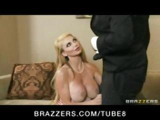 Busty blonde MILF sucks and fucks the judge to win the cupcake competition