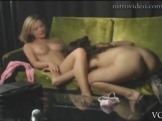 Sexy Lesbian Babes Cassie Courtland and Victoria Sin Do The Scissors