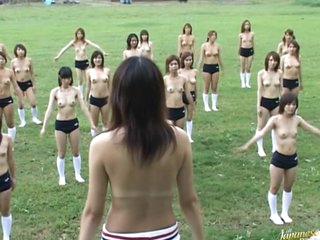 Thirty Half-Naked Asian Babes Exercising Outdoors