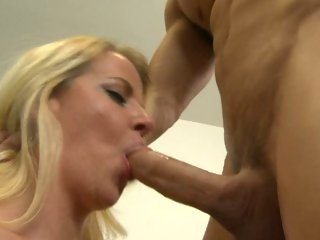 Slapper Anita Blue slurps on this throbbing prick