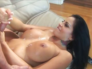 Super sexy Mikayla rubbing hot cum all over her tits