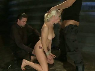 Bound Lorelei Lee takes a huge prick down her throat