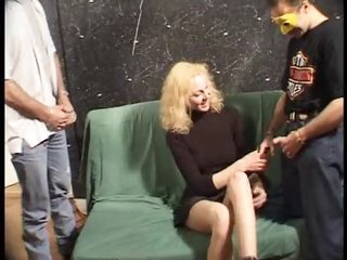 Gangbang for a cute golden-haired in a dress