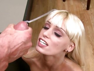 Erica Fontes accepts a sexy load from Peter North