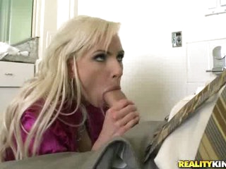 Blond milf Alexa B opening up her sexy mouth and filling it with dick