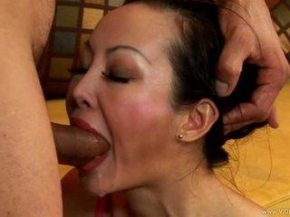 Nasty asian Ange Venus gags on a huge fuck stick