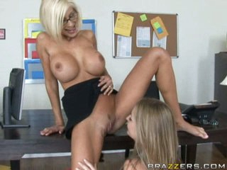 Big tits Avy Scott has some great lesbian fun with her shaved girlfriend