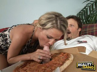 Filthy Kayla Synz takes a special sausage teasing her mouth for a sexy munch