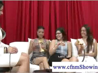 Cfnm beauties testing out strokers on guys