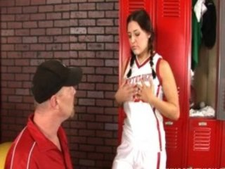 Horny teen drilled in the locker room by her PE teacher