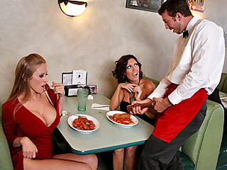 Abby and Dylan go out to a fancy restaurant and notice that the waiter looks large in the pants! They are so horny for large cock that they just have to find out if he's large or not, so they leave him their address on the table after they leave and this chab sees it and decides to go ahead and pass by their house for his 'tip'!