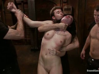 Aria Aspen is a fuck toy for James Deen. Mr Pete. Christian Wilde. Michael Bridalveil and Richie Calhoun in this scene. They bang her ass and shaved bawdy cleft all together.