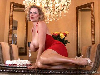 Kelly Madison has enjoyment with her birthday cake on meatballs