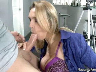 Tanya Tate sucks off a lucky youthful man's nob like cum coated lollipop