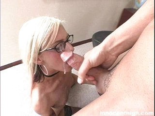 White hottie Christine gets a load of hot cum shot across her face.