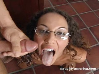 Hot babe Adriana Deville gets a load of sexy jizz squirted in her mouth