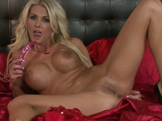 Perfect boobed blonde Alicia Secrets toys her snatch