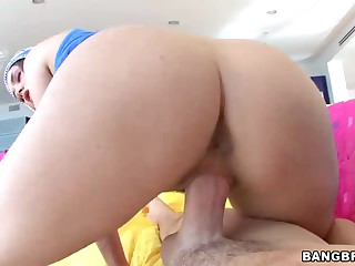 Hot chick Allie Haze with ideal bare bubble butt wears wonderful blue hat. Allie Haze gives wonderful blowjob before she rides dick reverse showing off her super sexy big ass. She's priceless ass fucking!