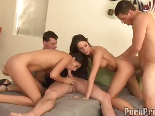 Three brunette have a good time sucking. fucking and taking cumshots! Kourtney Kane does her best to make guys explode as well as her horny friends. Each girl get cock and ejaculation in this orgy!