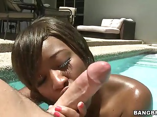 Young black girl Imani Rose with taut ass takes on white cock in the sun. She gives blowjob in the pool and then gets her brown hole pounded. There nothing hotter than sex right in the sun!