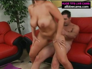 Cute, large tit brunette gets pussy pounded