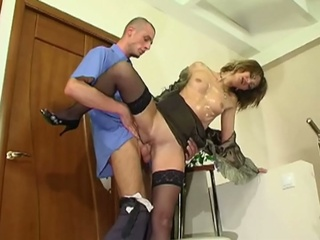 Horny russian milf seduces young guy for hardcore fucking
