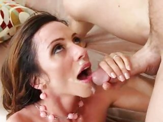 Ariella Ferrera gets her face drenched with warm jizz