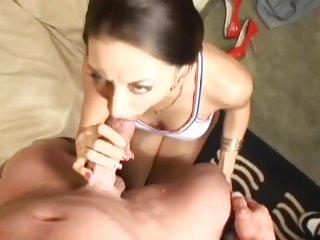Luscious Kira Kroft rams a huge dick down her throat