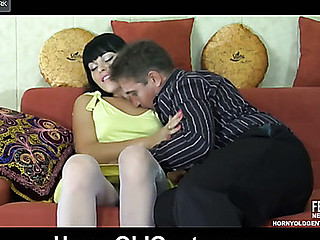 Sexy juvenile chick gets down and ribald with a much older guy after a swallow