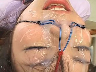 Riho Matsuoka gets 100 Shots of bukkake in a school uniform and bound up and has a ballgag in her mouth.