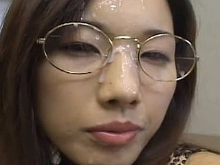 Mikami Syouko lets guys come up to her and cum in her mouth as this babe collects the warm cum in a glass for her to widen all over her chest.
