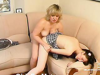 Lez curious angel seducing seasoned playgirl into tongue giving a kiss and tit-to-clitoris