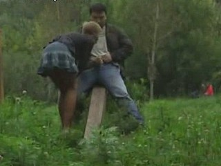 These crazy guys thought that no one would see them in the woods but they were mistaken. Horny voyeur had his cam working when sultry blonde did a deep throat job on the dick and got heavily rammed from behind!