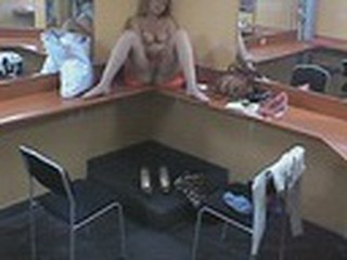 Enjoy the hot voyeur video with sassy goldilocks who came to the makeup room in the evening and decided to examine her own body. She stripped and climbed on the table dreaming about hot penetrations for her pussy!
