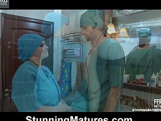 Chubby older nurse helps a juvenile doc relax opening up her mouth and snatch
