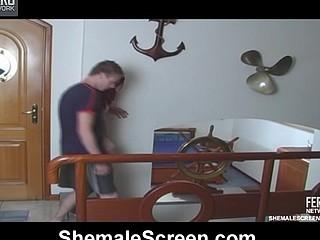 Sizzling hawt shemale jerking guy