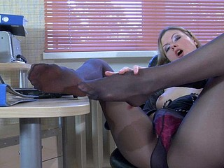 Heated sec has a lunch break stroking her nyloned feet and her merry bra buddies