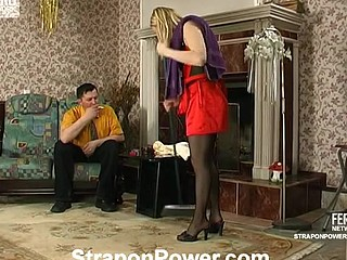 Sexy housewife has got rubber surprise beneath her petticoat for a guy to engulf on