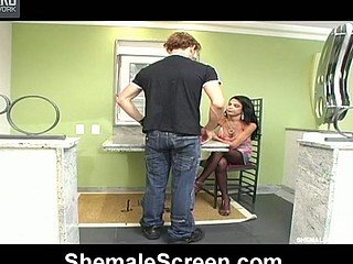 Freaky shemale multiplies her pleasure by two in booty-banging with kinky guy