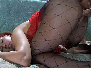 Stunning mother i'd like to fuck in diamond print tights banged by a guy in a hose mask
