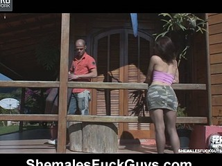 Lusty ladyboy takes out her secret equipment pushing it up a guy