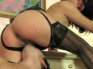 Cutie in patterned nylons riding up and down plump 10-Pounder with her wet cum-hole