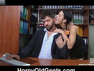 Sassy youthful secretary seduces her older boss into a vigorous office quickie
