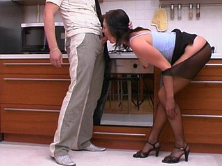 Mischievous hottie readily dropping on her knees to give proper pantyhosejob