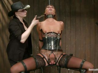 She's hard to please but no worries, these two very skilled mistresses will take care of her. After they've tied the bitch and immobilized her, metal clamps were used to torment her tits and pussy. Now she's in pain but that vibrator on the cunt gives her some pleasure. Stay with us and enjoy her punishment