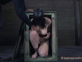 Freshly out of the box the milky white brunette with big soft boobs receives a rough mouth fucking from her executor. After warming her up with his dick the guy puts her on the floor with her legs up and inserts a speculum in her tight pussy. Like how it looks inside, some semen would make it look better
