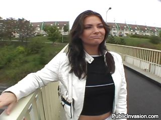 It all starts with a conversation on a bridge, this hot brunette milf needs some money and she is willing to do a lot for them. She agrees to get fingered after he pays her. Her sexy legs have a hot hairy pussy between them and she loves a finger in there and then in her mouth. After more money she gets something bigger in her mouth, a hard thick cock, will she swallow his semen?