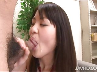 Kanna Harumi licks the tip of a cock like an ice cream cone then pulls up her skirt so she can get banged from behind. She gets bent over the desk like a schoolgirl slut then rides cock on the couch as she fingers her clit and gets dick deep inside her.