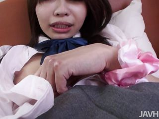 Look at my school girl's cunt! So hairy and eager for cock, I rub it just a bit with this vibrator and then stick my dick inside it. Damn I love to be between her delicious thighs and feel her warm cunt squeezing my cock inside it. She moans with pleasure and wants some more so this cutie goes on top and rides me