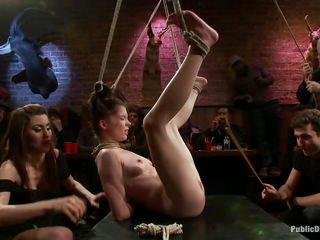 She was a very bad girl and the public is determined to give her a disgraceful punishment. Look how she hangs there tied up and with her cunt on display, waiting to get fucked hard and deep. Her wait is soon over as a man inserts his erect dick deep in her delicious vagina, wonder if he will cum in her?